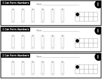 Number Formation Practice Strips - No Prep