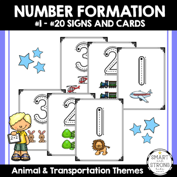 Number Formation Signs / Cards - Animal & Transportation Themes (Color & B/W)
