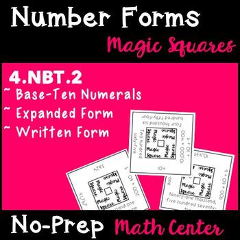 Number Forms Magic Squares - 4.NBT.2