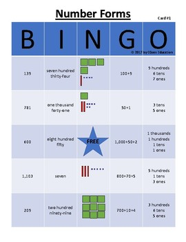 Place Value-Number Forms Bingo! - Trial Version