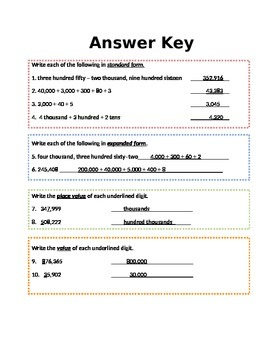 Number Forms Place Value Quiz