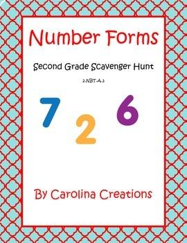 Number Forms Scavenger Hunt - Second Grade Math 2.NBT.A.3