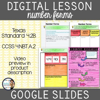 Number Forms: Standard, Expanded & Word Google Interactive Lesson