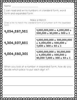Guided Math Lesson Plans for Place Value: Standard, Expanded and Word Form