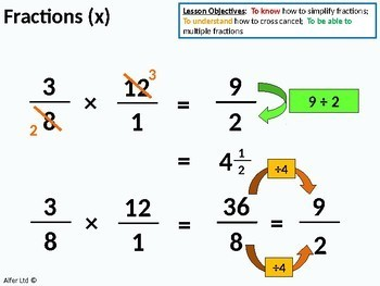 Number: Fractions 5 - Multiplying single and Mixed Fractions