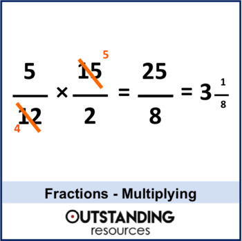 Number: Fractions 5 - Multiplying single and Mixed Fractions (+ worksheet)