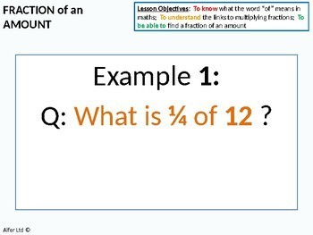 Number: Fractions 6 - Fraction of an Amount