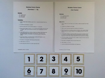 Number Frame Game with Light Wood Grain Background