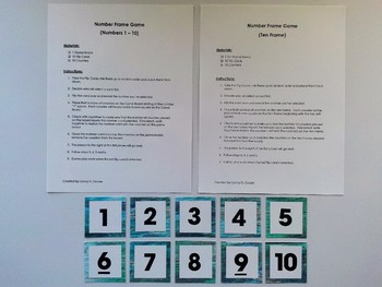 Number Frame Game with Teal Wood Grain Background