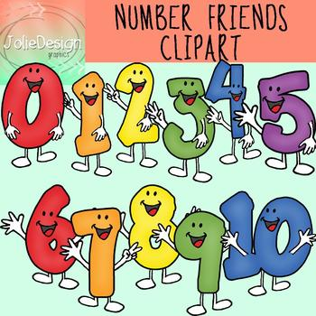 Number Friends Clipart Set - Color and Line Art 22 pc set