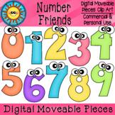 Number Friends Digital Moveable Clip Art