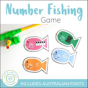 Number Fun - Fishing Game for Numeral Recognition and Representation - QLD FONT
