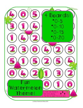 Number Game - 4-in-a-row With a Fun Watermelon Theme!
