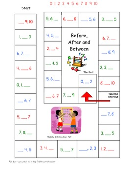 Number Game Board  0-10 Before After and Between