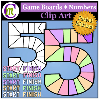 Number Game Boards Clip Art Pastels
