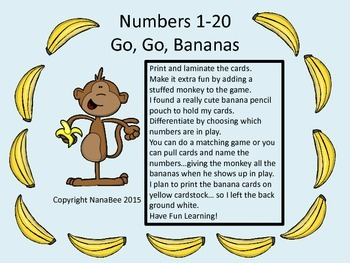 Number Game Go, Go, Bananas - Numbers 1-20