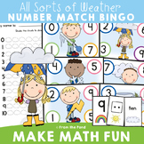 Number Game Math Center - Weather Theme