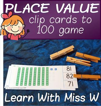 Number Game - Place Value Clip Cards to 100