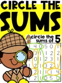 Number Games: Circle the Sum (Numbers 3-10)