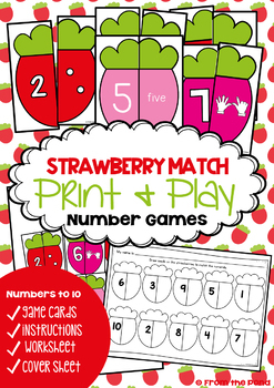 Number Games {Strawberry Match - Math Center Numbers to 10}