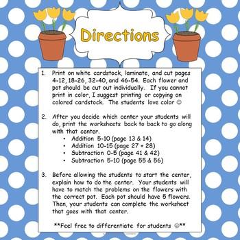 Number Garden- Addition & Subtraction Sort (Math Center)