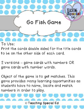 Number Go Fish - for numbers 1-20
