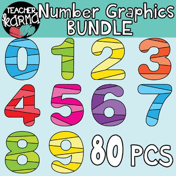 Number Graphics BUNDLE: Striped MATH CLIPART