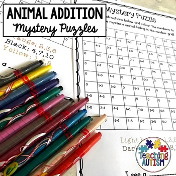 Animal Mystery Puzzle Addition Worksheets