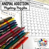 Animal Math Mystery Picture Addition Worksheets
