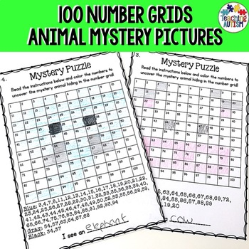 Animal Mystery Puzzle Number Grid Pictures