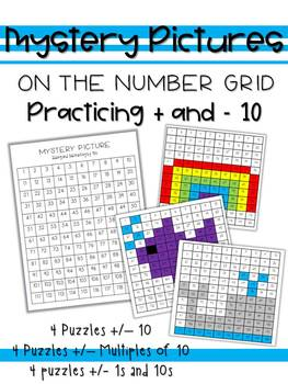 Number Grid Mystery Pictures Adding and Subtracting by 10s and 1s