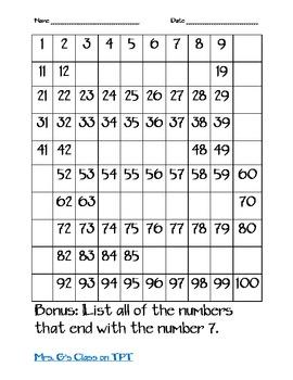 Number Grid Packet