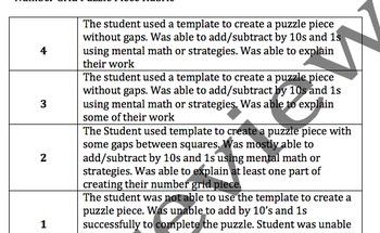 Number Grid Puzzle Piece Rubric
