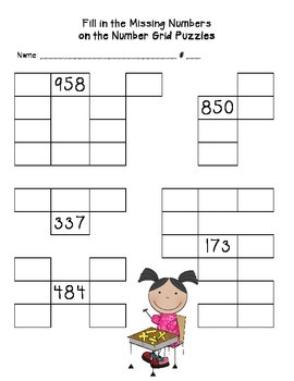 Number Grid Puzzles NBT First, Third Grades