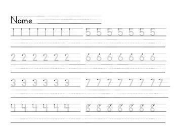 Basic Number Handwriting Practice 1-8 Zaner Bloser