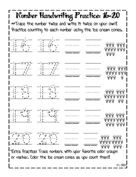 Number Handwriting Practice Sheets 1-20