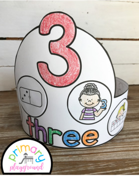 Number Hats Bundle Cut and Glue 1-20