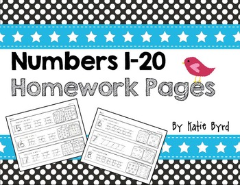 Numbers 1-20 Homework Pages  ~ Number writing and counting practice