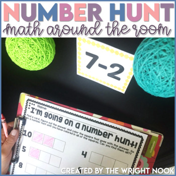 Number Hunt Around the Room (addition, subtraction, and 1:1 correspondence)