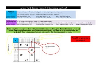 Number Hunt: Find the missing number addition and multiplication