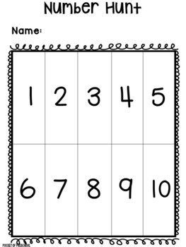 Number Hunt for Preschool, Pre-K, and Kindergarten