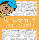 Number Hunt Worksheets {Numerals 0-20}