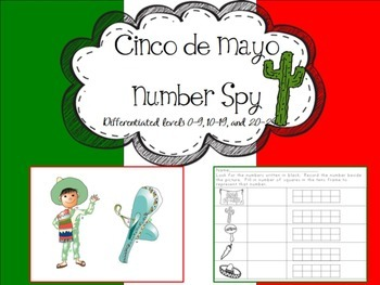 Number 'I Spy' Cinco de Mayo theme- 3 levels of differentiation
