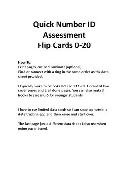 Number ID Flip Cards 0-20 High Contrast Included