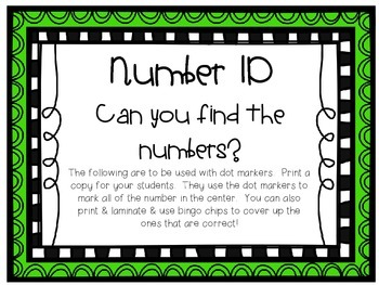 Number ID Sheets