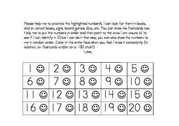 Number Id Practice Charts 1-50 with parent letter for home