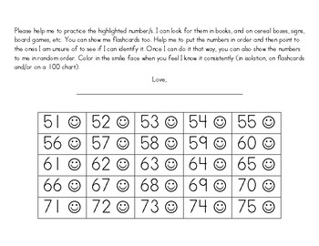 Number Id Practice Charts 51-100 with parent letter for home
