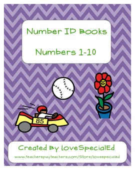 Number Identification 1-10 Book Pack for Early Childhood & Special Education