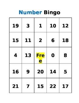 Number Identification BINGO