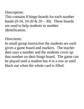 Number Identification Bingo